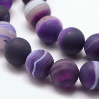 15 Natural Striped Indigo, Agate Bead Strands, Round, Frosted, 8mm, Hole: 1mm;